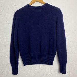 Vintage Garland Knit Crew Neck Ribbed Hem Sweater